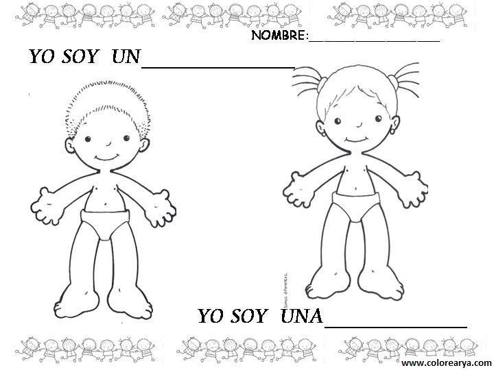 Dibujo del cuerpo humano para colorear niño - Imagui