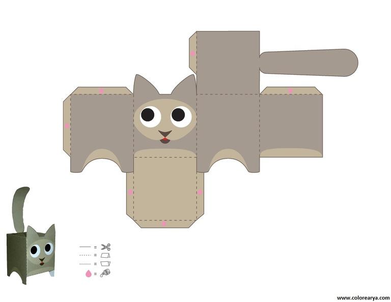 3д кошка из бумаги своими руками шаблоны