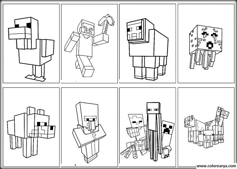 Minecraft Para Colorear: Dibujos Para Colorear Y Pintar Para Los Niños